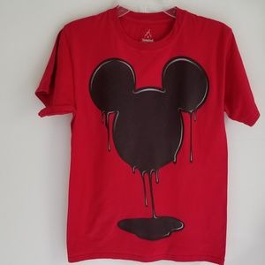 Disney Melting Mickey Mouse red tshirt Rare size S